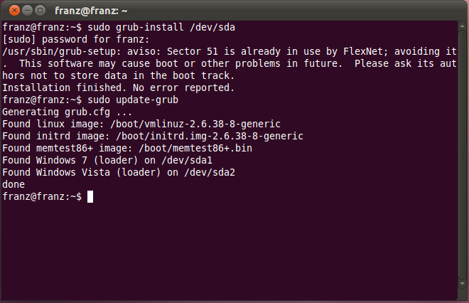 Recuperar grub ubuntu